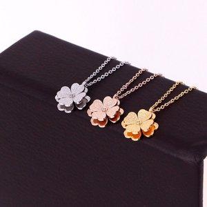 Yaratıcı çift katlı dört yapraklı yonca kolye kadın çift katmanlı çiçek altın clavicle zincir kadınların takı kolye buzlu