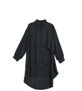 Düzensiz Dikiş Uzun Gömlek Etek Erken Bahar Tasarımcı Woemns Yeni Uzun kollu Gömlek Moda