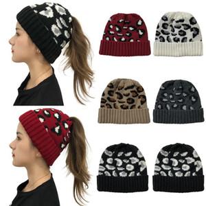 Beanie Skull Caps 2021 European American Leopard Knitted Wool Hat Women's Warm Braided Hats For Women Beanie Bonnets Skullies