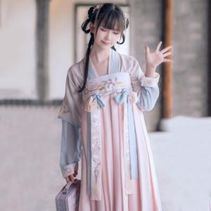 Hanfu Frauen Chinese National Dance Kostüm Stickerei Bühne Wear Für Sänger Oriental Performance-Bekleidung Folk Outfit DC1831