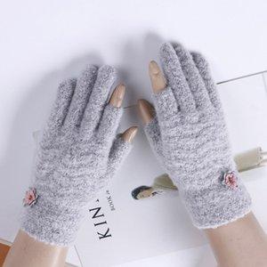 Женская мода палец пальца индекс палец вязать сенсорный экран телефона перчатки зимы женщин кашемира нагреться милый цветок перчатки A49