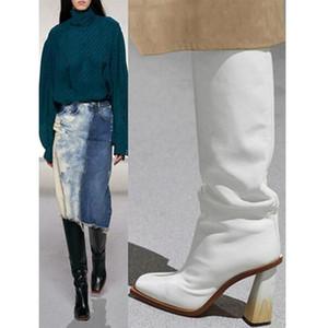Siddons qualité supérieure noir en cuir blanc Femmes Cuissardes bout carré Chunky talon haut Botines Mujer 2020 Mesdames Chevalier Chaussures