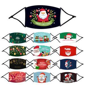 AZIONE DEGLI STATI UNITI! Maschere di natale Bambini Cotone stampato Christmas Party Kids Fashion antipolvere del fiocco di neve di Natale Bocca lavabile riutilizzabile con filtro