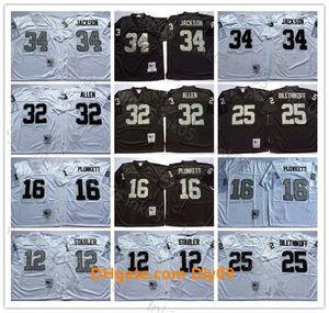 AncienOaklandRaiders NFLFootball Jersey 34 Bo Jackson 32 Marcus Allen 16 Jim Plunkett 25 Fred Biletnikoff 12 Ken Stabler Ha