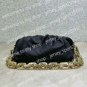 Newset Wolke Form Abendtaschen Wolke Tasche mit dicker Kette Kupplung Frauen Beutel Echtes Leder Clip Handtaschen Crossbody Totes 31cm