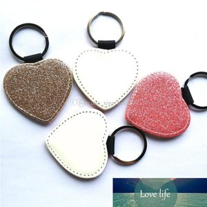 sublimation glitter leather keychains blank pink golden heart shape key ring with bright powder hot transfer printing consumables