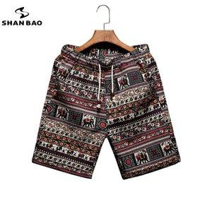 SHAN BAO Mode en vrac Beach Hommes Shorts Summer Marque Vêtements Personnalité Impression Coton jeunesse confortable Shorts 200922