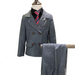 New Boys England Style Suits Set Gentle Kids Formal Costume High Quality Wedding Party Suit Kids Brazer Pants 2pcs Clothing Set