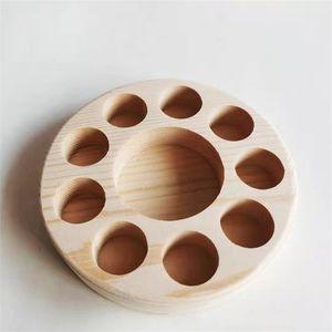Ätherisches Öl Stand-Zahnstange Anzeige Porous-Organisator-Halter Natürliche Holzregal Rund Eine Schicht Log Farbe Nach Maß 9BQ B2