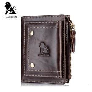 2020 New Genuine Leather Mens Wallet Man zipper Short Coin Purse Brand Male Cowhide Credit&id Wallet Multifunction Small Wallets