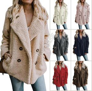 Femmes Sherpa Manteau hiver épaissir la veste en molleton chaleureuse peluche de peluche de poche de poche de peluche plus grande taille vêtements veste boutique S-5XL 2020 D82604