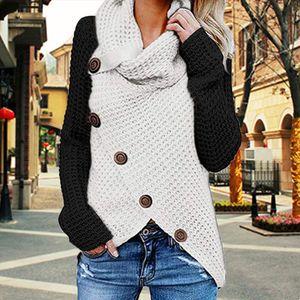 2020 Moda Kadın Patchwork Örme Triko Kış Casual Süveter Femme Örme Sweter Mujer Giyim Yeni Pull Güz Sfit