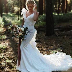 Deep V Neck Mermaid Wedding Dresses 2021 Tiered Organza Ruffles Custom Made Country Wedding Bridal Gown Vestido De Novia