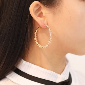 Prickly Big Circle Golden Silver Color Hoop Earrings Simple Round Fashion Personalized Ear Jewelry Gift For Wedding Party