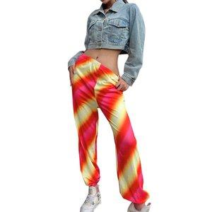 2020 Fashion Women's High Street Cargo-Hosen-beiläufige Fitness Hosen-elastische Taillen Abbindebatik Jogginghose Herbst Gym Sport Hosen