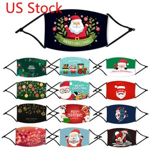 Colorful US Stock Kid Christmas Masks Deer Designer Xmas Face Masks Anti Dust Snowflake Christmas Mouth Washable Reusable With Filter FY4241