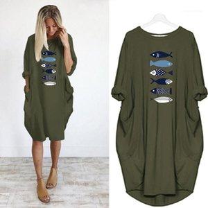 Pocket Casual Dresses Plus Size Women Clothing Animal Printed Casual Dresses O Neck Long Sleeve Big