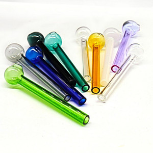 4 polegadas (10 cm) colorido pirex de vidro de óleo queimador transparente tubo queimador de óleo de vidro óleo queimado tubulação de tubos de vidro tubos de água FY2305