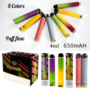 8 Colors Puff Flow Disposable Vape 4ml Cartridges 650mah Battery Empty Disposable E Cigarettes 100puffs Starter Kit Device Pods