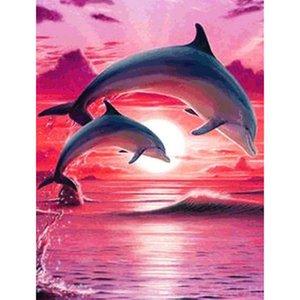 5D bricolaje llena de diamantes cuadrados pintura diamante Dolphin Animal bordado paisaje costero Sunset decoración para el hogar patrón de punto de cruz