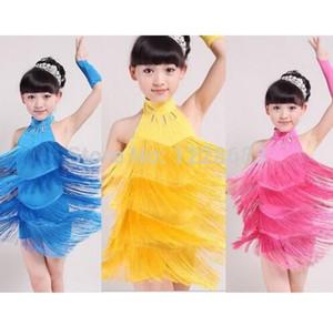 Новое прибытие 110см-170см Детей Детских девушки Бального Latin Salsa платье блестки Fringe латинские танцы платье для девочек