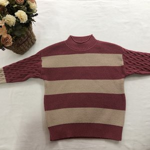New autumn and winter children's turtleneck striped sweater loose fitting European and American street style cardigan