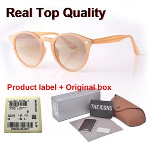2020 New Arrial sunglasses women men Round plank frame Metal hinge glass lens Retro Vintage sun glasses Goggle with box and cases