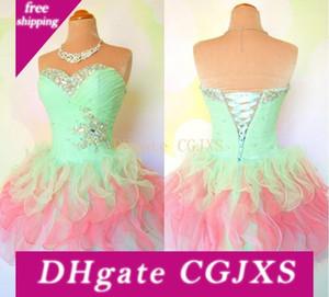 Verdadeiro show Vestidos Homecoming 2014 Multi Color Querida vestido de baile do espartilho do partido Vestido Curto Contas de Cristal Ruffle Mini Prom Dress H -55