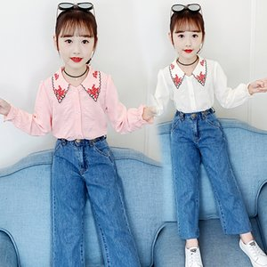 Baby Girls Clothing Set Autumn New Embroidery Cotton Shirts + Loose Denim Trousers 2pcs Clothes For Teens Fashion Kids Outfit