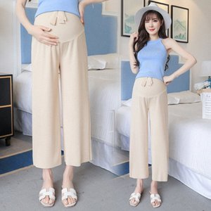 High Waist Belly Pant Maternity Legging Pant 2020 Spring Summer Ice Silk Wide-Leg Pregnant Women Trousers Clothes Plus Size 6Zm7#