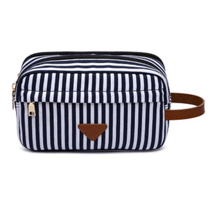 Travel Toiletry Cosmetic Organizer Bag, Double Layers Canvas Shaving Kit Stripe Pouch Portable Small Items Bags 26 * 12 * 16CM