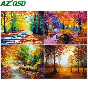 AZQSD colorear por números de bricolaje lienzo Otoño Pintura Kits de decoración para el hogar pintura por número de unFrame paisaje regalo único
