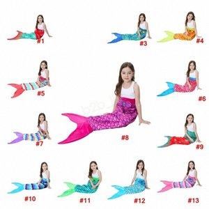 56 * 135cm Kids Mermaid Schwanz Decke Snowflake Printing Blankets Mädchen-Kind-Muster-Ausgang Cartoon Bett warmer Schlafsack LJJA3030 ndFX #