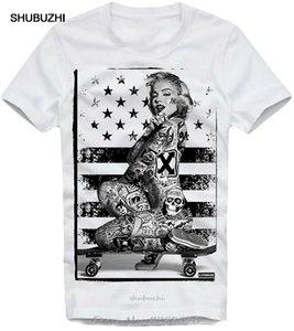 Coton pour hommes T-shirt Marilyn Monroe Tattoo Tats skatergirl planche à roulettes T-shirt d'été T-shirt drôle T-shirts Harajuku