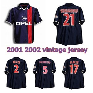 2001 2002 Париж Роналдиньо ретро футбол Джерси 01 02 Анелька Okocha Хайнце Pochettino Артета ALOISIO классический марочные футбол рубашка