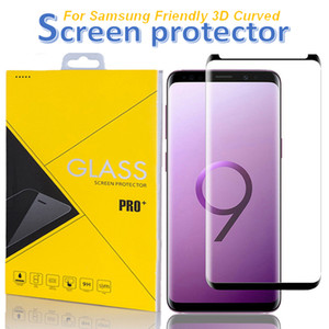 Для Samsung Galaxy S20 S10 Примечание 20 10 Plus Примечание 8 9 Screen Protector 9Н 3D Изогнутые стекла Защитная закаленное стекло Дружественные чехол