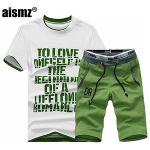 Aismz Uomo Fitness Tuta Set Estate casuale Sporting Fashio Uomini Shorts Imposta camicia a maniche corte + mettono vestiti casuali Outwear