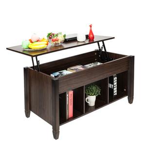 الجدول رفع القهوة مع التخزين الخفية الرف شعرية مساحة التخزين أقدام الخشب الصلب غرفة المعيشة طاولة القهوة الأثاث براون