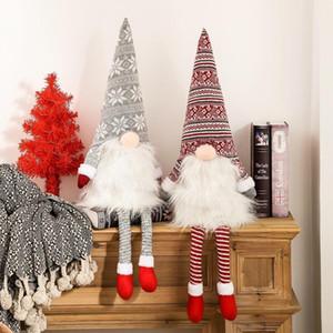 Árbol de Navidad Gnome Topper sueco Tomte Adornos de Santa Gnome Gnomos felpa escandinava Decoración de Navidad Casa DHE1251