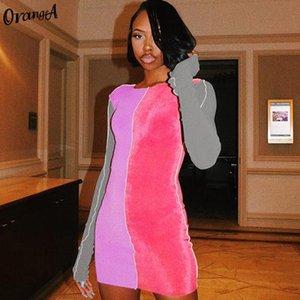 OrangeA женщин длинный рукав полосатый лоскутное платье Bodycon тощий фитнес моды O-шеи упругой высокой уличной вскользь платья