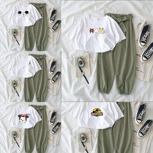 AkjT1 20 été T-shirt blanc large T-shirt large pantalon jambe avec un pantalon à jambe large ensemble tempérament célébrité Internet minceur style occidental Kore
