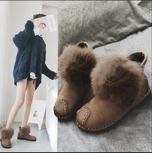 Women's 2020 new round head cotton shoes, high quality fashion winter with wool wool shoes ankle boots