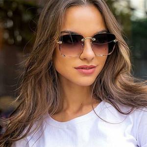 Moda Kare Güneş Kadınlar Çerçevesiz Gradyan Güneş Gözlükleri Kadın Erkek Marka Tasarımcı Retro Pembe Açık Gözlük