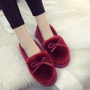 모피 모피 푹신한 슬리퍼 홈 층 실내 슬리퍼 여성 겨울 신발 소녀 귀여운 나비 넥타이 갈기 신발 무리 모피 하우스 슬리퍼를 따뜻하게
