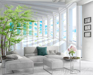 3d Modern Wallpaper 3d Landscape Wallpaper Beautiful White Extended Space Building Romantic Scenery Decorative Silk 3d Mural Wallpaper