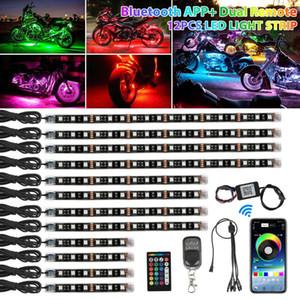 12st RGB bluetooth Motorrad LED-Licht Accent Glow Neon Streifen APP Control Kit 12V Lampen Dekoration Streifen