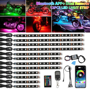 12PCS RGB bluetooth Motorcycle LED Light Accent Glow Neon Strip APP Control Kit 12V Lamp Decoration Strip