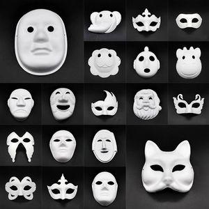 Маски DIY бумага Masquerade маска Halloween Party Cosplay мультфильм Маска Карнавал Бал лицо Женщина Carnaval Masque Prop HWF654