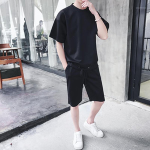 O-Neck Plus Size Shorts Homme Skateboard Sport Suit Mens Loose Tracksuit Summer Short Sleeve