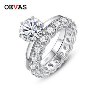 OEVAS Real 2 с Moissanite Свадебные кольца верхнее качество 100% 925 серебро обручальные Свадеб Fine Jewelry Подарки